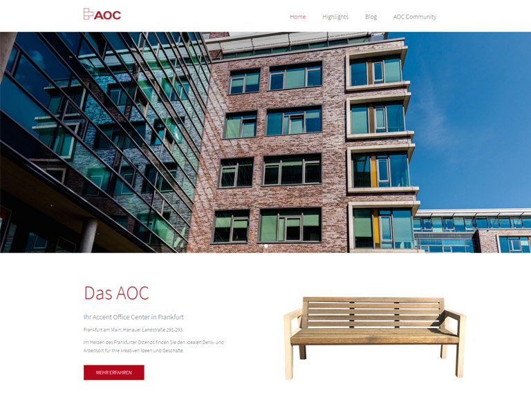 Screendesign AOC Frankfurt / Corporate Design & CMS Joomla