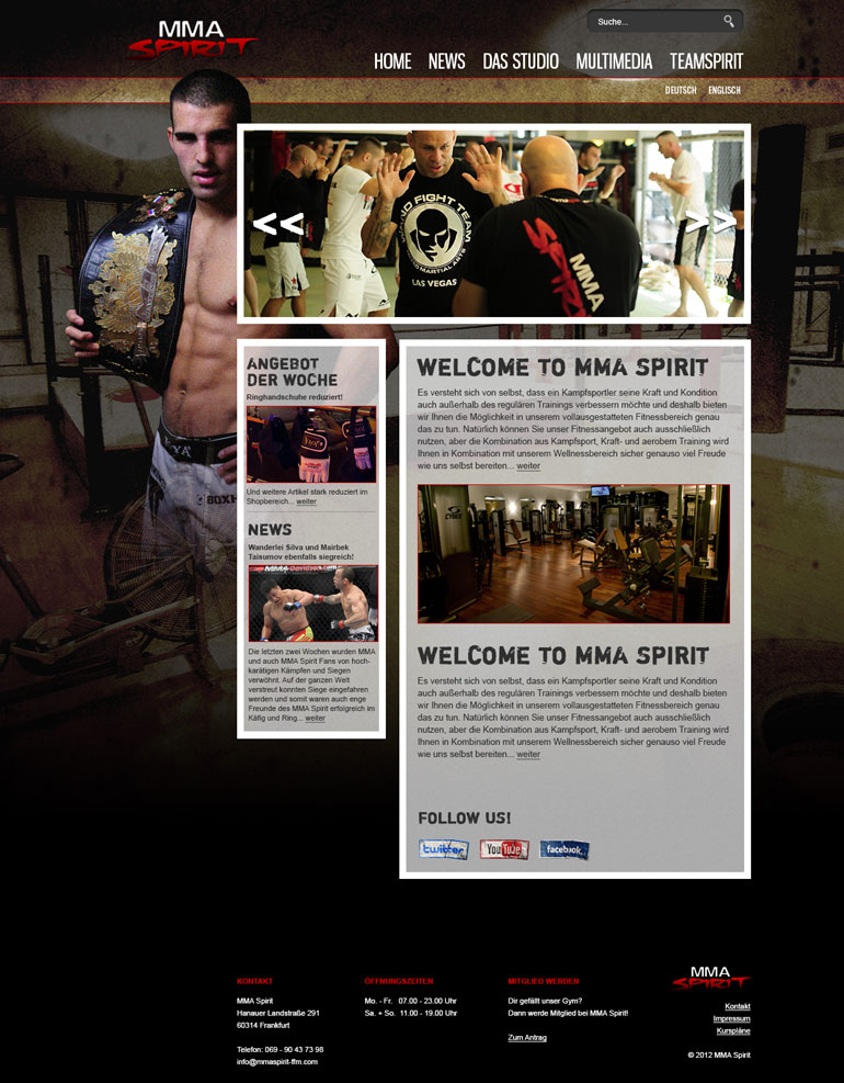Screendesign MMA Spirit
